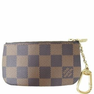 LOUIS VUITTON Key Coin Pouch Damier Ebene Brown